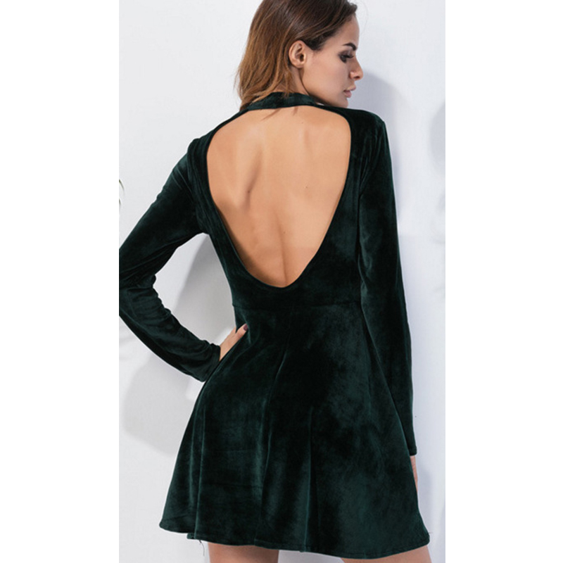 8f9720c3f74 Fashion Autumn Winter Women Green Long Sleeve O neck Velvet Dresses Office  Vintage Sexy Backless A line Dresses Vestidos Female-in Dresses from Women s  ...