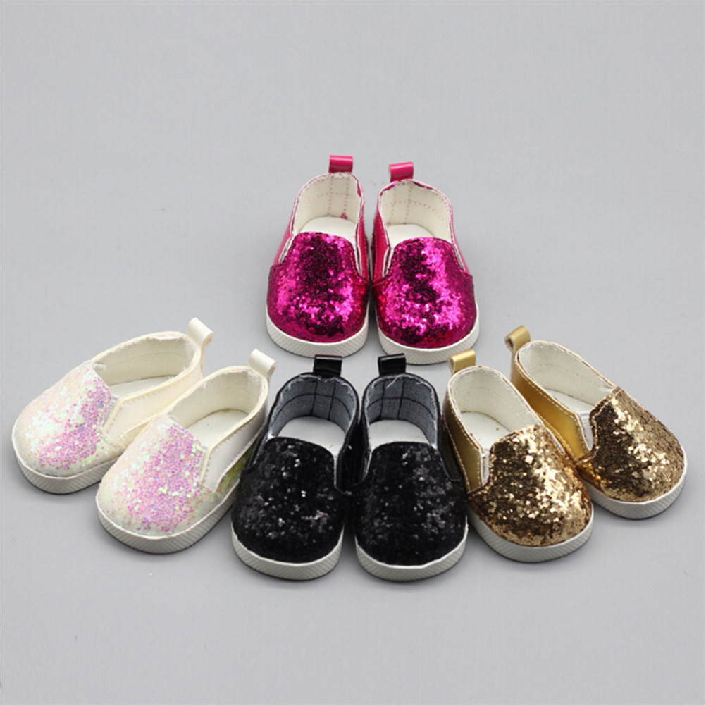 """1 Pair Doll Shoes Fashion Sequins Sports Boots Shoes For 43Cm Dolls Baby doll And 18"""" Girl Accessories"""