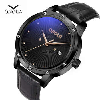 ONOLA High Quality Mens Military quartz Watch men Durable leather Fashion Sports Waterproof golden Men Wristwatch with Gift BOX - DISCOUNT ITEM  57% OFF All Category