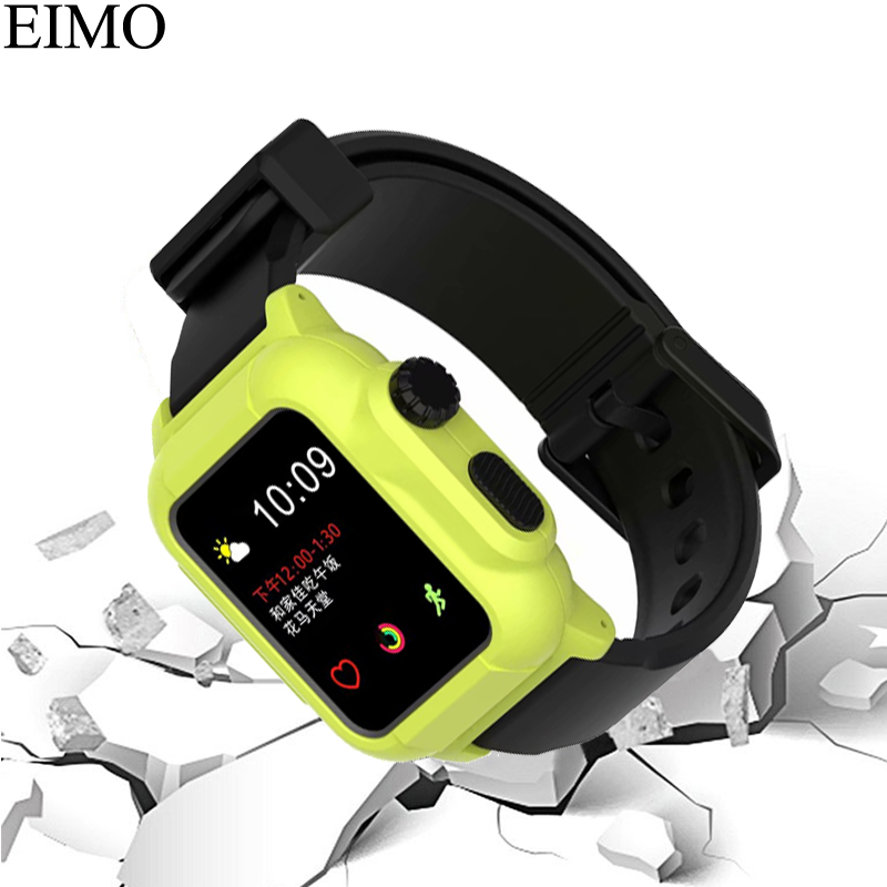 EIMO Silicone Band Strap For Apple Watch Case 42mm Sport Iwatch Series 3 2 1 Wrist watchbands+Waterproof Protective Cover pj 002 protective silicone case wrist band for gopro hero 3 3 wi fi remote controller blue