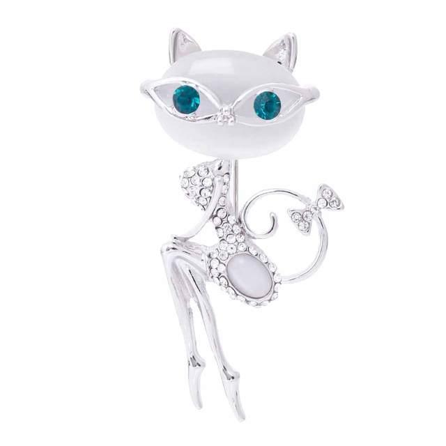 FAMSHIN 2017 opal brooch cat wearing sunglasses woman sexy cute cat pin and broo