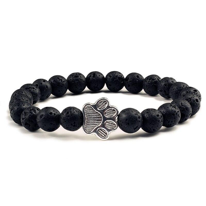 Natural Matte Black Lava Volcanic Stone Paw Print Charm Bracelet Homme Femme Pet Memorial Cat Dog Lovers Jewelry Bracelets Gifts