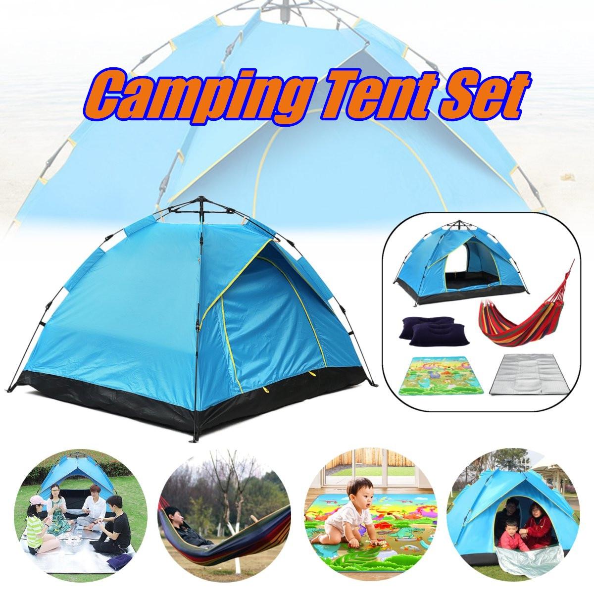 Automatique Camping Tente 2 Personnes Tente Instantanée Pop Up Ouvert Anti UV Auvent Tentes avec Hamac Pique-Nique Tapis 2 xPad oreiller