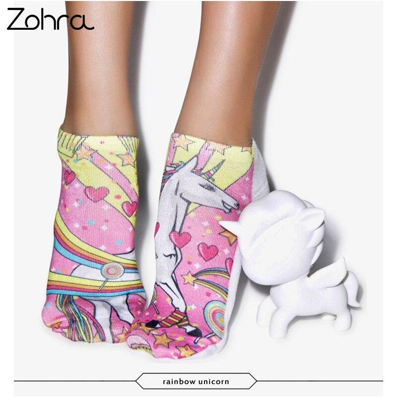 Zohra Rainbow Unicorn 3D Graphic Full Printing Meias s