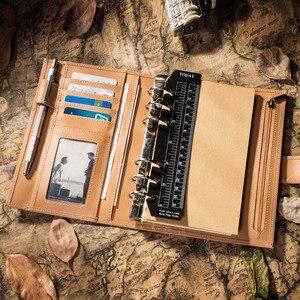 Image 4 - Capa de couro de vaca genuína retro viajante caderno diário diário vintage caderno de viagem artesanal
