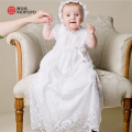 With Hat Baby Girl Christening Dresses European Style Puff Short Sleeves Floor Length Lace Princess Baby White Baptism Gowns