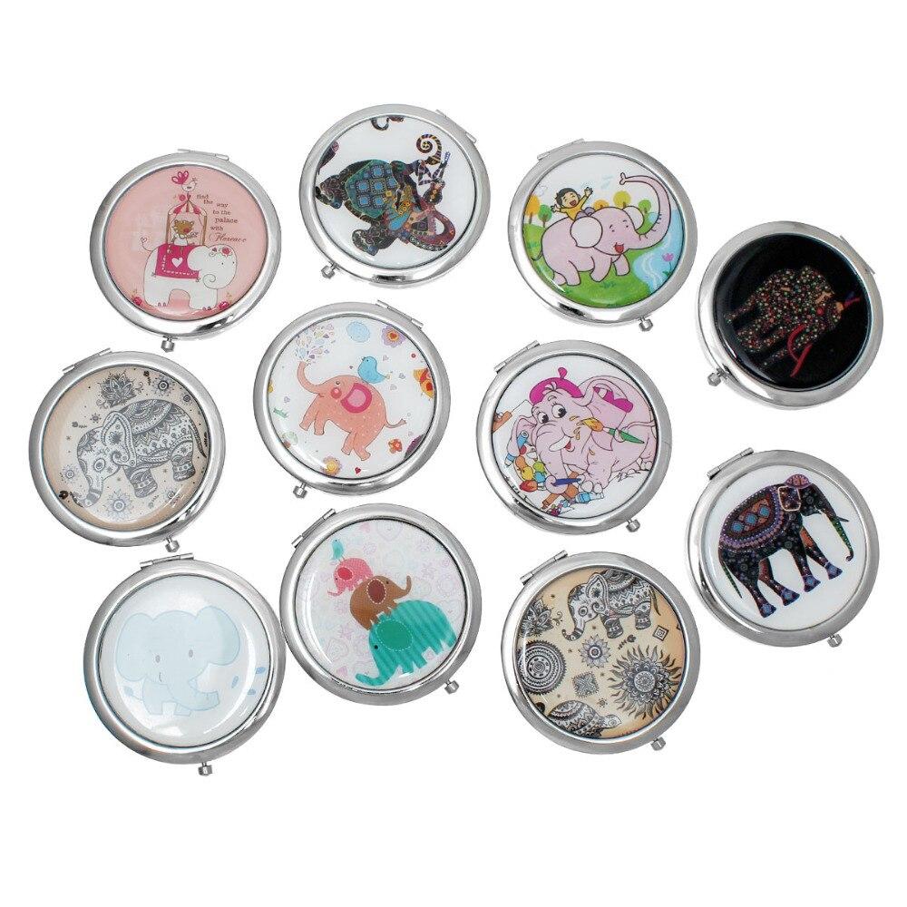 Make Up Pocket Mirror Cosmetic Round Foldable Silver Tone At Random Elephant Pattern 7.6cm(3″) x 7cm(2 6/8″), 1 Piece