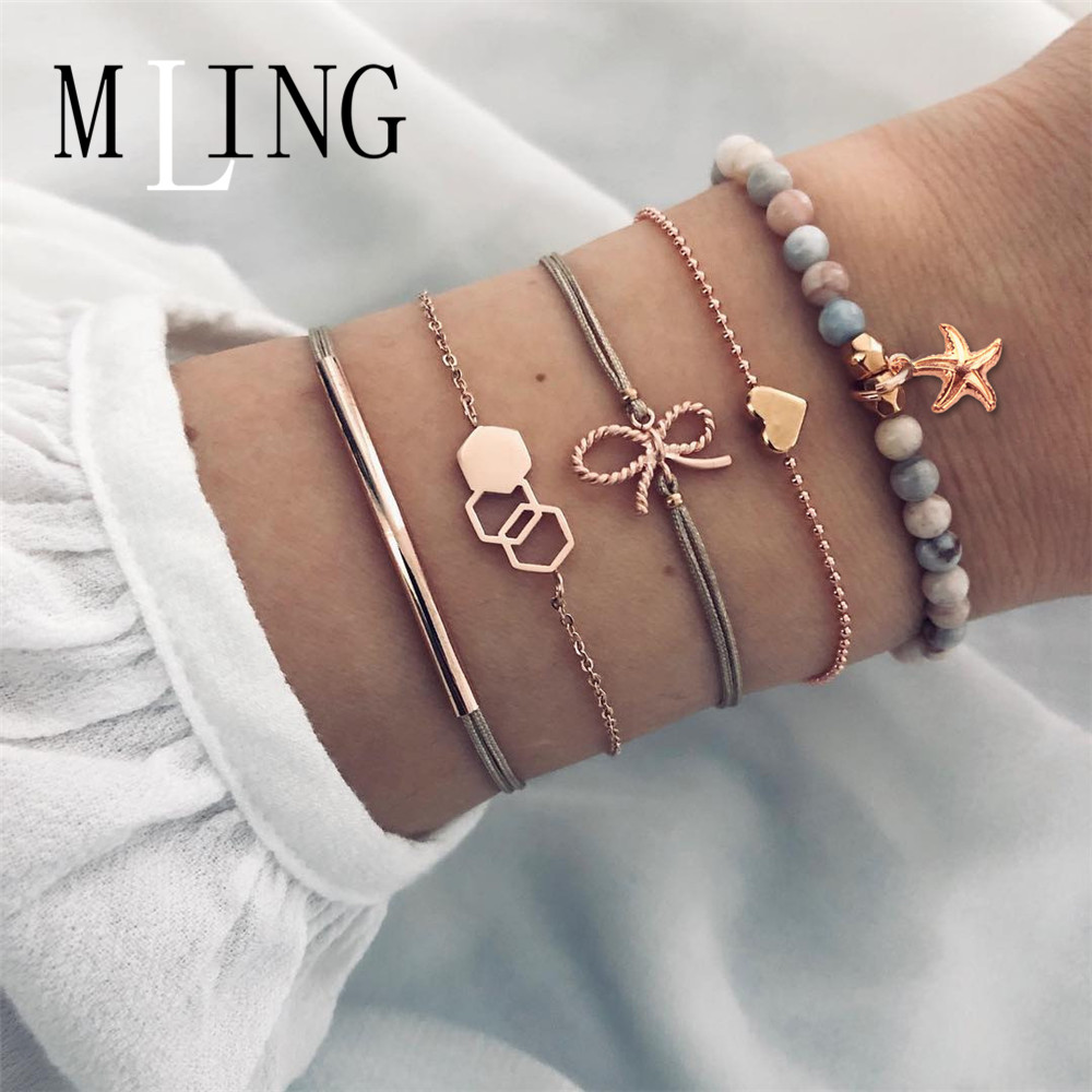 MLING 5 Pcs/Set Bohemian Starfish Geometric Heart Bow Charm Bracelets Set Bead Bracelet Jewelry Gift