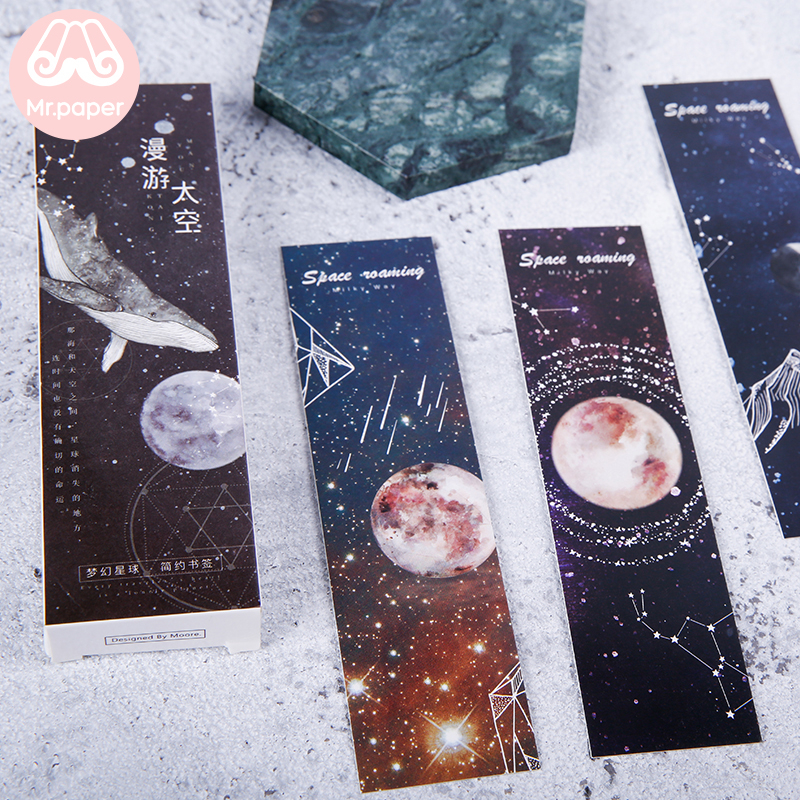 Mr Paper 30pcs/box Walking Space Universe Planet Moon Star Bookmarks For Novelty Book Reading Maker Page Creative Paper Bookmark
