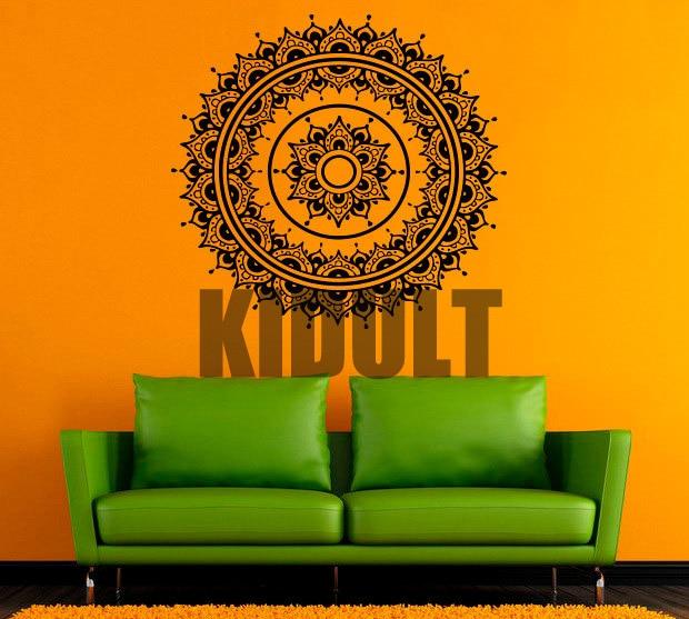indiase yoga vinyl muurstickers creatieve patroon mandala yoga mandala muurstickers interieur slaapkamer muur achtergrond behang