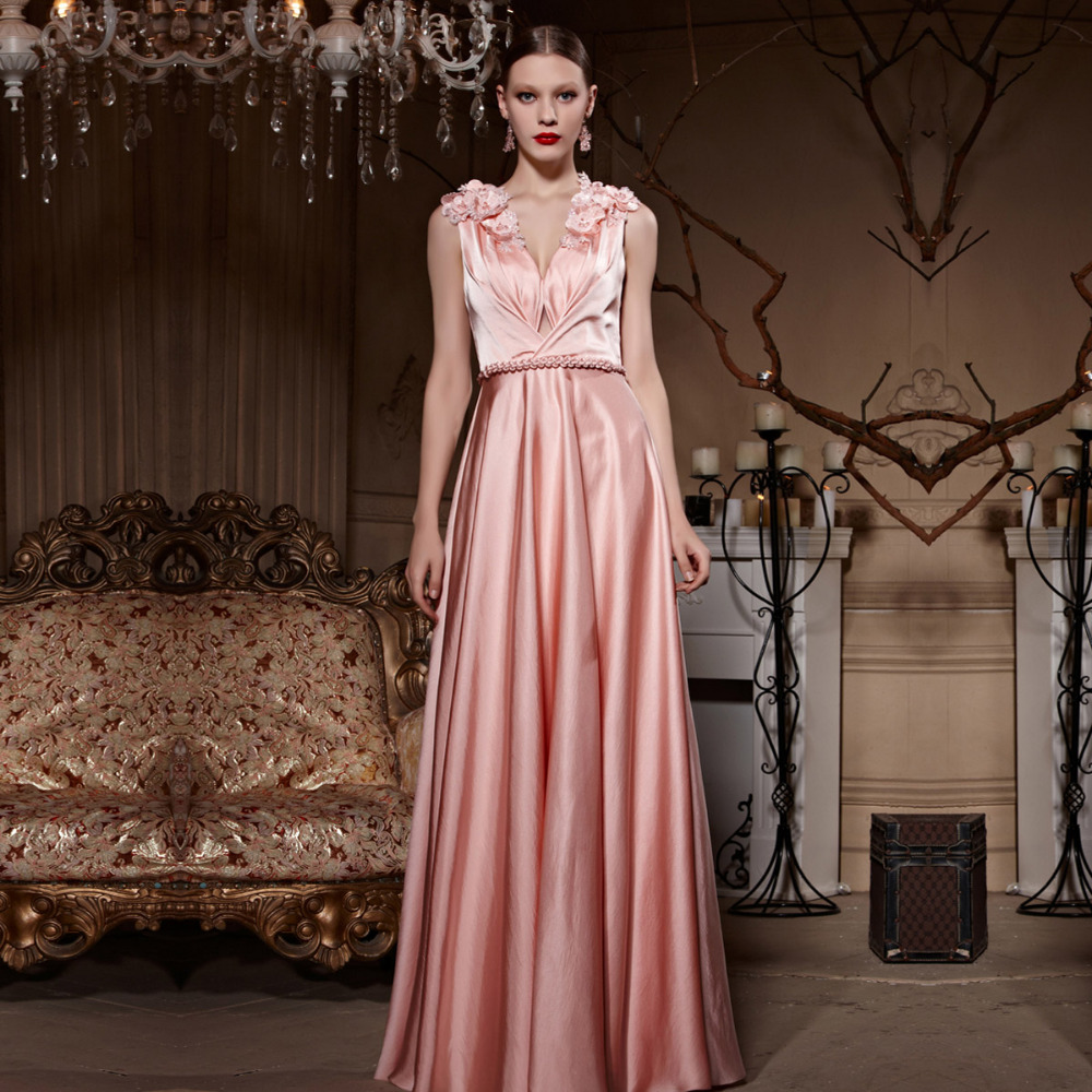 Aliexpress.com : Buy Deep VNeck with Key Hole Pink Evening Gown by ...