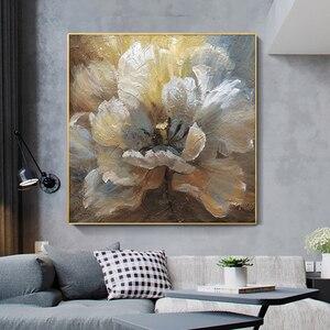 Image 1 - لوحة زيتية تجريدية مرسومة يدويًا لعام 100% على قماش كتان لتزيين صور بدون إطار لغرفة المعيشة هدايا ديكور منزلي