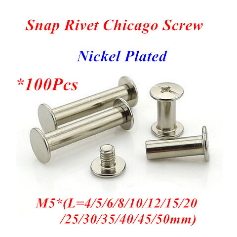 100pcs M5 Snap Rivet Chicago Screw sex account bolt book binding post screws steel nickel plated M5*4/5/6/8/10/12/15/20/25/30mm