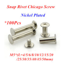 100pcs M5 Snap Rivet Chicago Screw sex account bolt book binding post screws steel nickel plated M5*4/5/6/8/10/12/15/20/25/30mm des amis толстовка