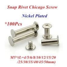 100pcs M5 Snap Rivet Chicago Screw sex account bolt book binding post screws steel nickel plated M5*4/5/6/8/10/12/15/20/25/30mm