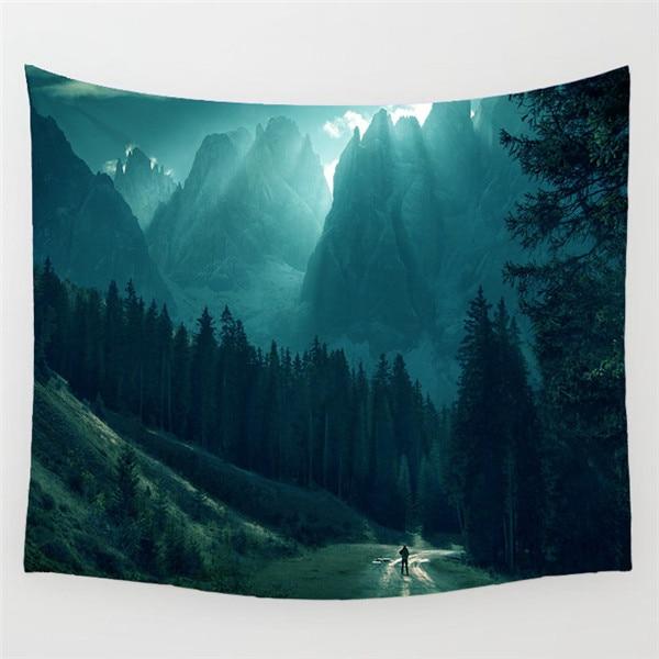 Tapiz indio Mandala Sunrise tapiz pared colgante tapices bosque tapiz colcha Yoga Mat manta cama mantel