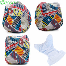 Mother Kids - Diapering  - One Size Baby Reusable Nappies With Suede Cloth Inner Pocket Diapers Washable Diaper Pants For Boys And Girls Cloth Diaper