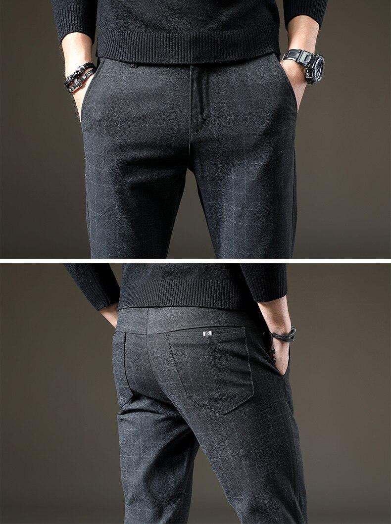 HTB1mLCRXjnuK1RkSmFPq6AuzFXaV Brand Men's winter Fleece Fluff Thicken warm Casual Pants men Business Straight Elastic Thick Plaid cotton gray trousers male