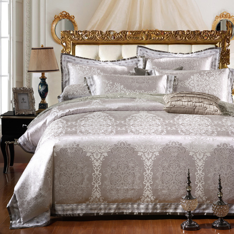 sunnyrain 46pieces silver luxury bedding set queen king size bed set jacquard lace duvet cover bed sheet bed linen - King Size Bed Sheets