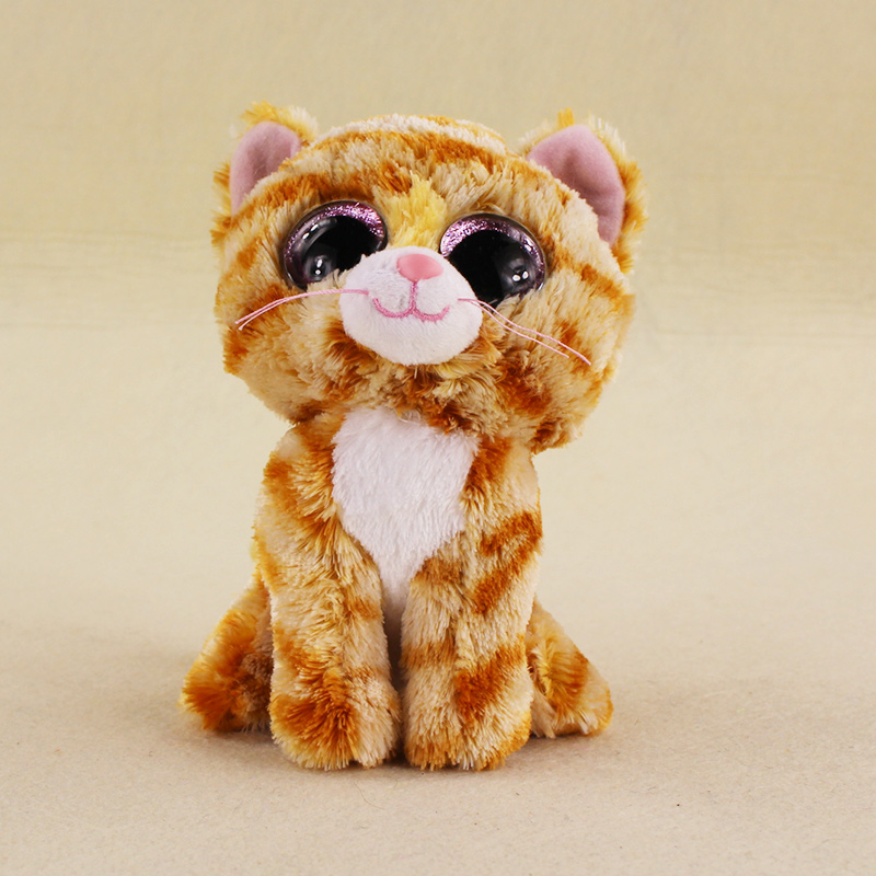 15cm Ty Beanie Boos Big Eyes Colorful Tabitha Tabby Cats Stuffed Animal Plush Doll for Children