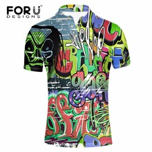FORUDESIGNS Green 3D Graffiti Men Polo Shirt 2017 Brand Summer Short Sleeved Polo For Teenager Boy Male Bodybuilding Polos Shirt