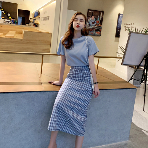 2019 Summer New Zip High Waist Conjunto Feminino Fashion Brief Casual Twinset Plaid Korean Women 2 Piece Skirt Sets