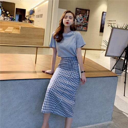 2019 Summer New Zip High Waist Conjunto Feminino Fashion Brief Casual Twinset Plaid Korean Women 2 Piece Skirt Sets