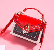 Angelatracy 2019 New Arrival Water Drops Metal Cover PU Heart Embroidery Floral Diamond Red  Women Shoulder Bag Crossbody Bags