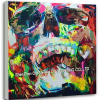 Goods Idea Handpainted Oil On Canvas Colorful Ghost Face Skull Head Oil Painting Wall Arts Pictures