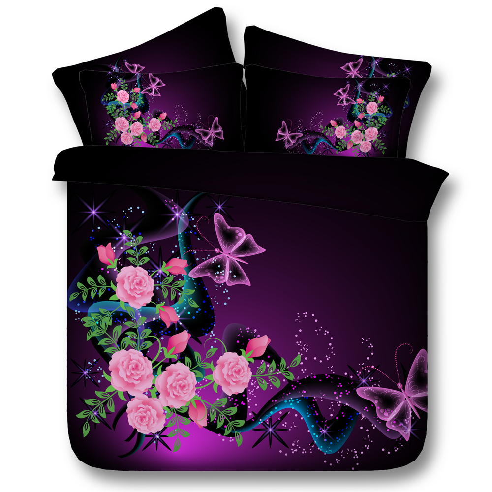 Pink Rose Floral Butterfly Comforter Bedding Sets Twin Full Queen