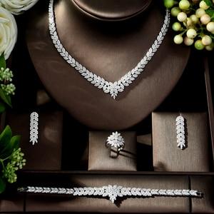 Image 2 - Hibride zircão do vintage conjunto de jóias brilhando pedra cúbica grande casamento nupcial e aniversário 4 pçs colar conjunto de jóias N 178