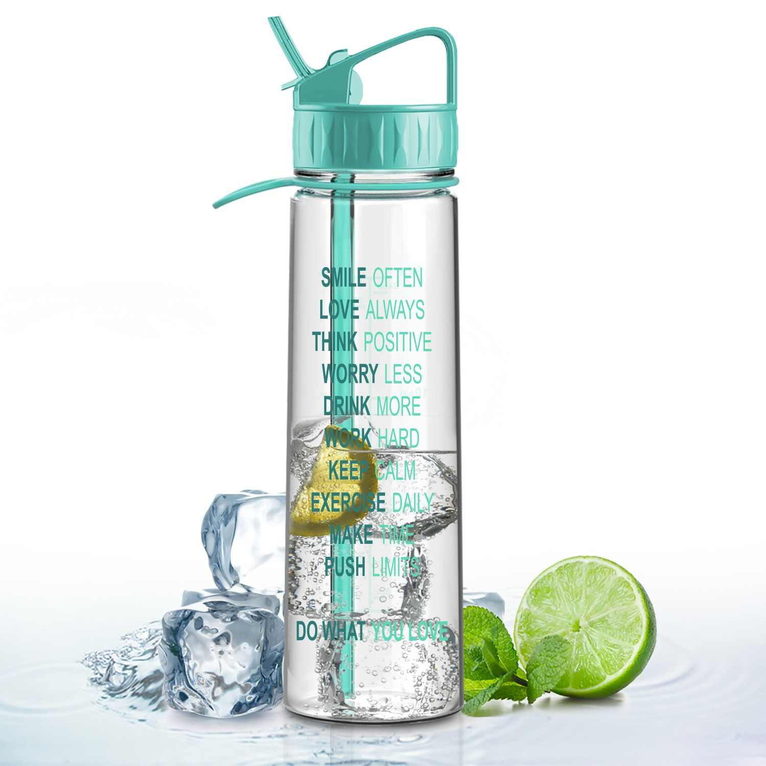 7aa3bf02b4 900ml Inspirational Fitness Workout Straw Sports Water Bottle with Time  Marker | Measurements | BPA Free