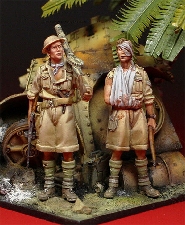 1/35 British Army (2 Figures) NOT HAVE TANK Standing Soldier    Toy Resin Model Miniature Resin Figure Unassembly Unpainted