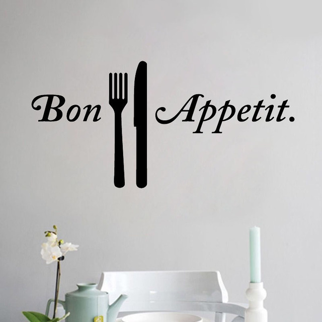 ZOOYOO Bon Appetit Wall Sticker French Writing Decals Home Decor Dining Room Art Murals