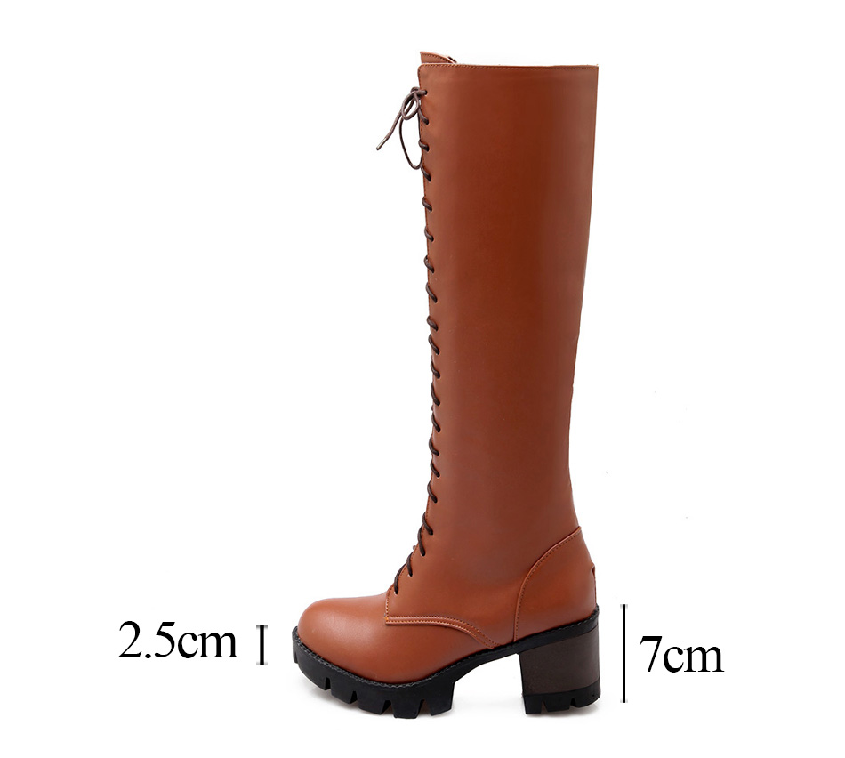 cb87b4d1dbc Gdgydh 2018 New Fashion Lacing Winter Knee High Boots Women High Heel Woman  Rubber Sole Leather Boots Spring Autumn Female ShoesUSD 49.49 pair