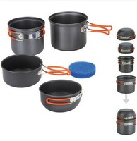 2 3 Persons Camping Pots Set 4in1 Foldable Cooking Cookware Aluminum Alloy Pot Sets 448g Fire