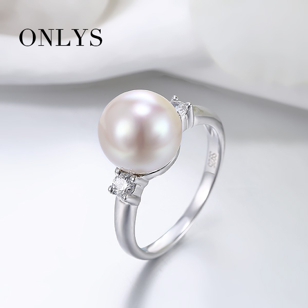 f114b0b70 100% Real White Color 3A Freshwater Pearl Rings 925 Silver 10mm White Pearl  Ring For Women Jewelry PR0002