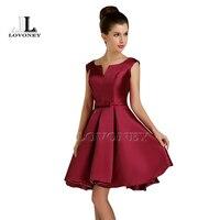 2015 New Design A Line V Neck Satin Short Prom Dresses Party Dress 5 Colors D112