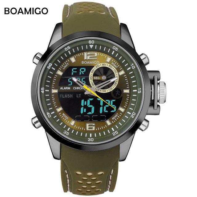 Hombres deportes relojes de cuarzo de doble pantalla relojes analógico digital led relojes boamigo marca rubber band 30 m relojes de pulsera a prueba de agua