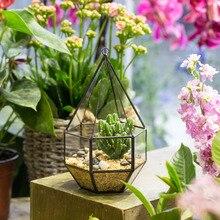 Handmade Hanging Geometric Six-surface Diamond Glass Geometric Terrarium Tabletop Succulent Plant Box Planter Hanging Flower Pot