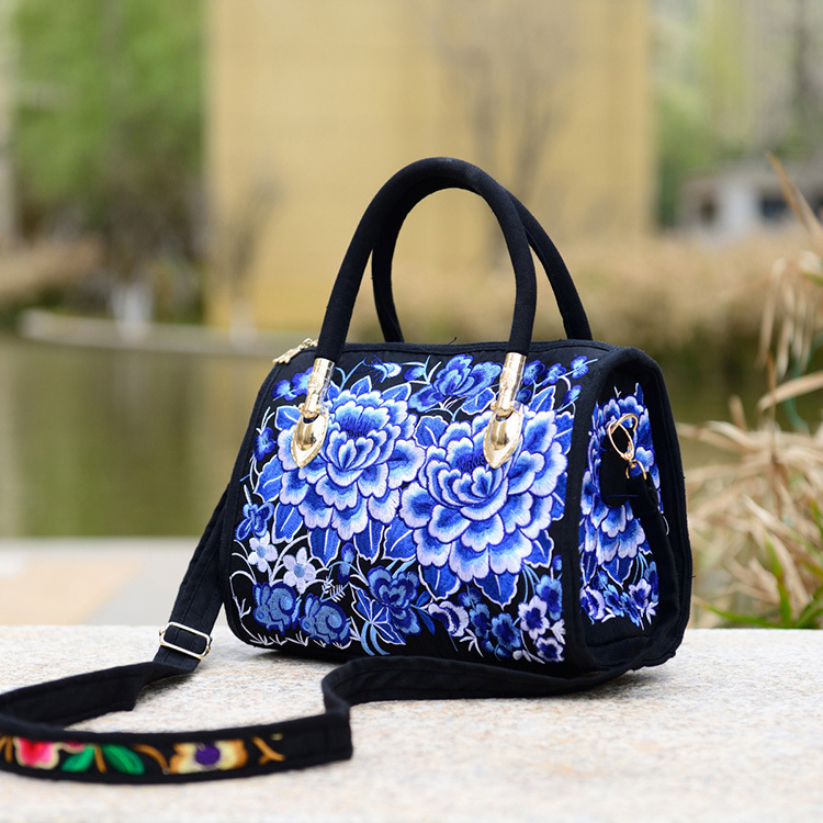 Chinese Folk Style Embroidered Boston Handbag Ladies Shoulder Bag Canvas Embroidery Peony Azalea Crossbody Bags