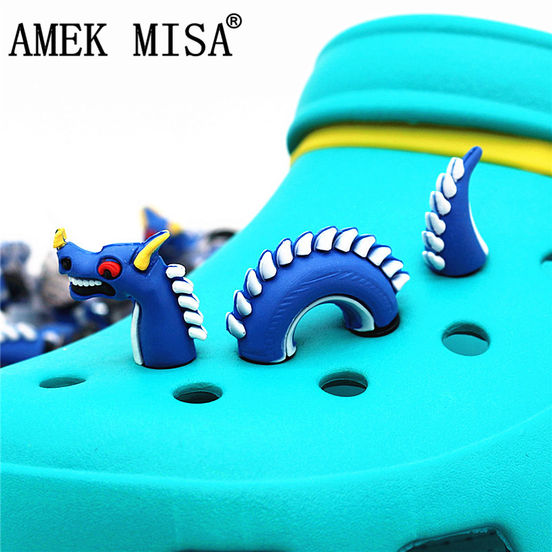 3Pcs A Set Shoe Decorations Novelty PVC 3D Dragon Style Garden Shoes Accessories Croc Charm Ornaments Kids Gift 3D-L03 Dracarys