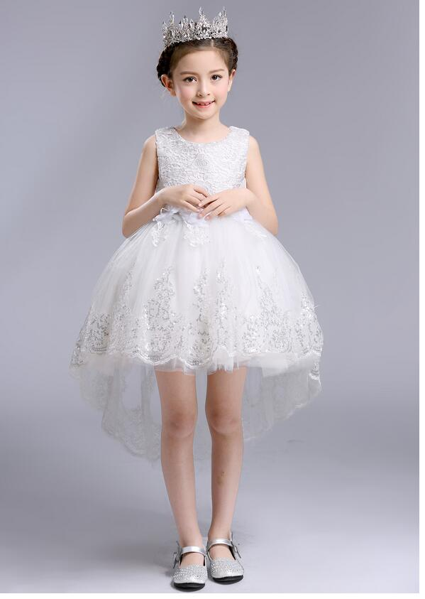 Girls Pageant Formal Dresses 2017 Flowers Sequins Bow Tailing Gowns Girls Princess Vest Tutu Dress Kids Birthday Wedding Dresses