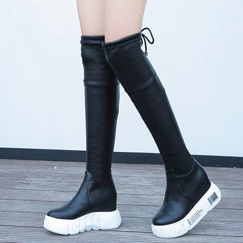 multi Cuir Genou Noir Chaussures À Bas Appartements Femmes Bottes New Longues Du Talons Cuissardes Suédé En Moto dessus Noir nUwPqZTgW