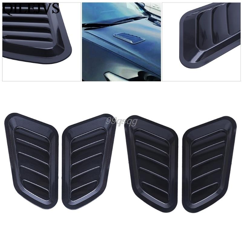 цена на 1 Pair Universal Car Sticker ABS Decorative Air Flow Intake Bonnet Vent Cover Hood New Drop shipping