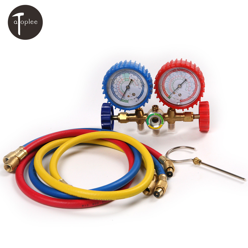 Car R134A R12 R22 R502 A/C Refrigerants Manifold Gauges Set Double Table Valve Charging Hose 90cm Quick Couplers Adapter weiqin 1096 fashion rhinestone scale quartz watch for female