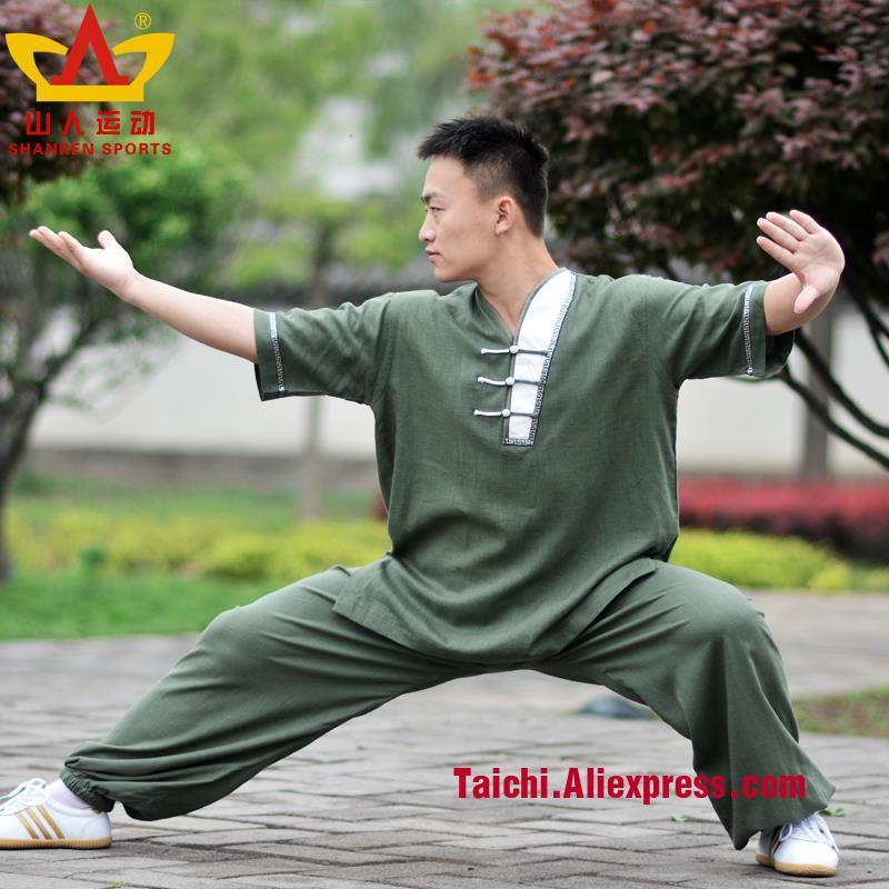 summer cotton and  flax tai chi clothes short sleeve tai chi suit without collar tai chi uniforms Wushu-clothing Kungfu Clothes tai chi clothing cotton clothes and costumes multicolor optional morning suit of taijiquan for men and women section
