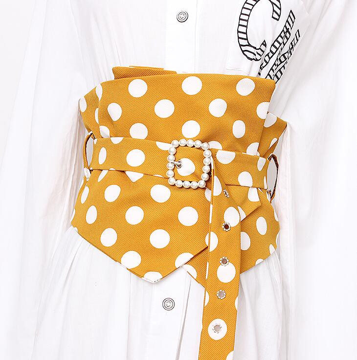 Women's Runway Fashion Dot Print Fabric Cummerbunds Female Dress Corsets Waistband Belts Decoration Wide Belt R1675