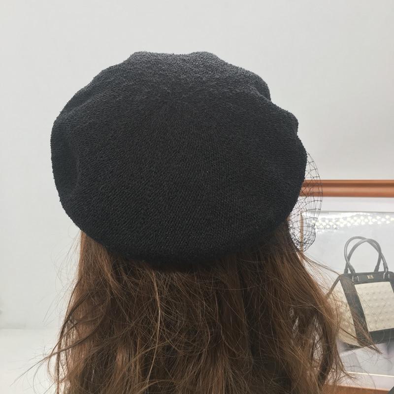 91f9d9462f7 FGHGF 2018 New Trendy Women Birdcage Veils French Beret Winter Denim Beret  Hat Cap Lady Gatsby Style Caps Blue Black Adjustable