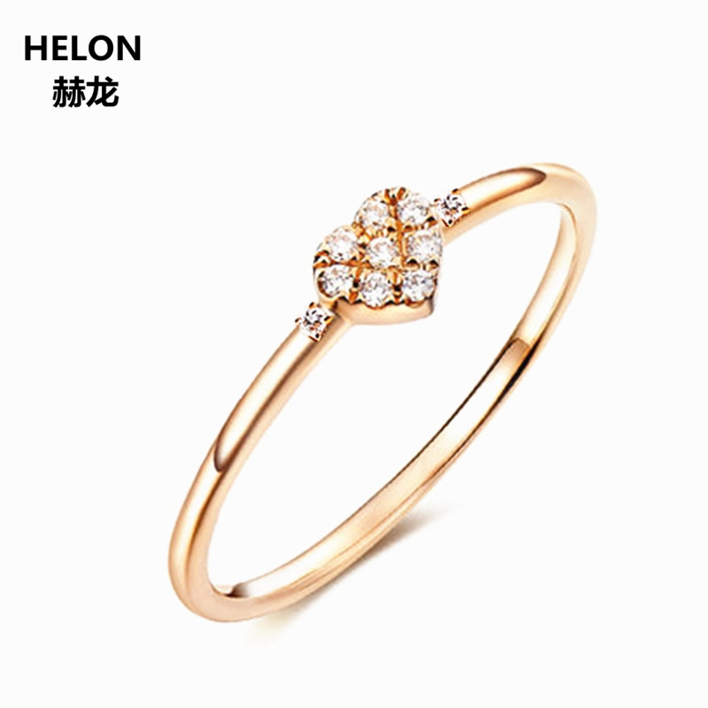 Solid 14k Rose Gold Natural Diamonds Ring Engagement Wedding Ring for Women Anniversary Party Fine Jewelry ...